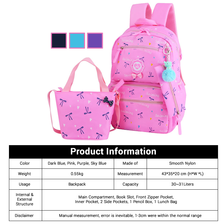 960ce500c5 Kids Girl Fancy Ribbon Single Color Cushion Padded Primary School ...