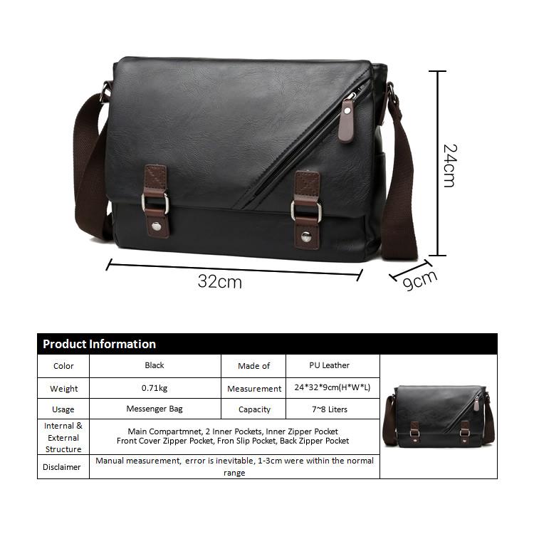 dfbbbb372d Man Black Leather Stylish MEssenger Bag MC486 RC1